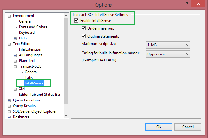 How to Enable IntelliSense Feature in SQL Server Management Studio (SSMS)