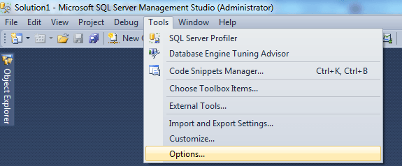 SQL Server Management Studio Tools Options To Change Settings