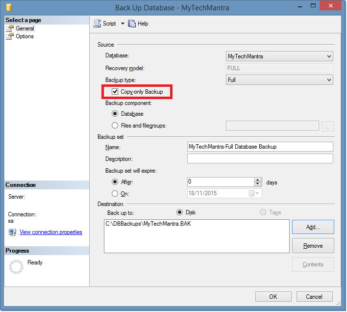 Create a COPY_ONLY FULL Database Backup Using SQL Server Management Studio