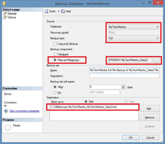 Create a FULL FILE Database Backup Using SQL Server Management Studio