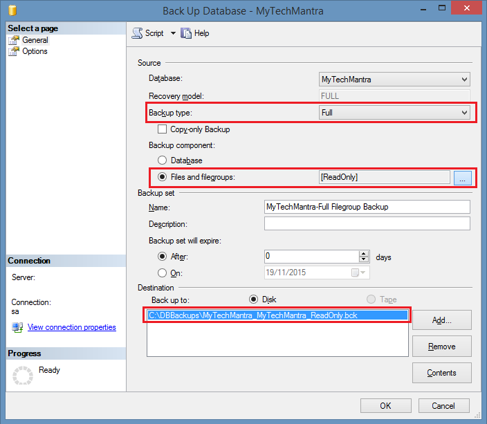 Create a FULL FILEGROUP Database Backup Using SQL Server Management Studio