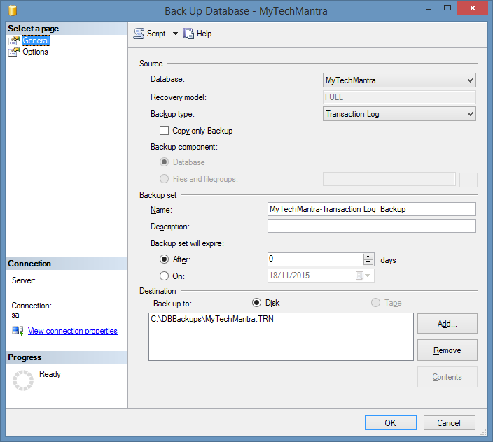 Create a TRANSACTION LOG Backup in SQL Server Using TSQL commands