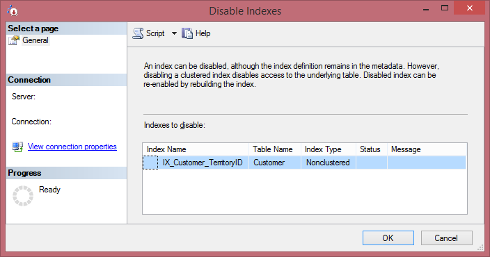 Disable Index Using SSMS