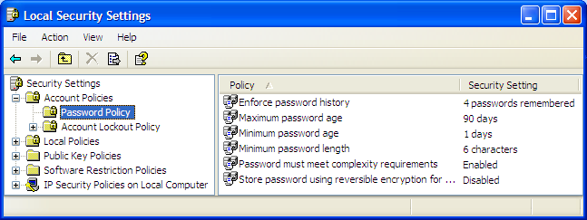 Local Security Settings Password Policy