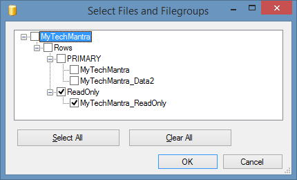 Select File and FileGroups in SQL Server to Backup ReadOnly FileGroup