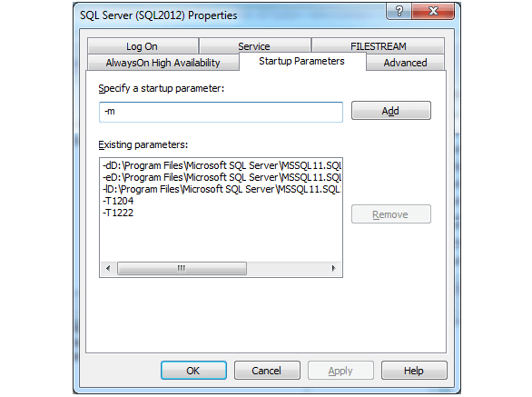 Startup Parameter Tab in SQL Server 2012