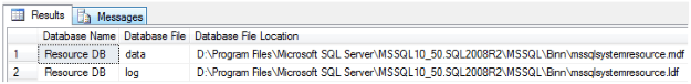 TSQL Script to Identify ResouceDB Loaction in SQL Server