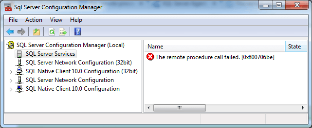 The remote procedure call failed. [0x800706be] in SQL Server