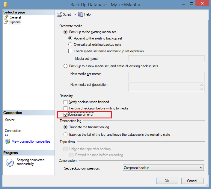 CONTINUE_AFTER_ERROR Option to Backup Database in SQL Server
