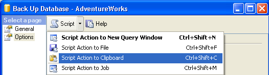Generate Database Backup Script Using SSMS