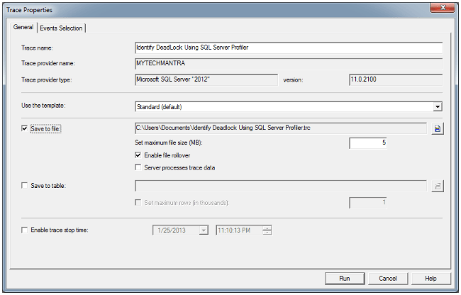 Identify Deadlock Using SQL Server Profiler