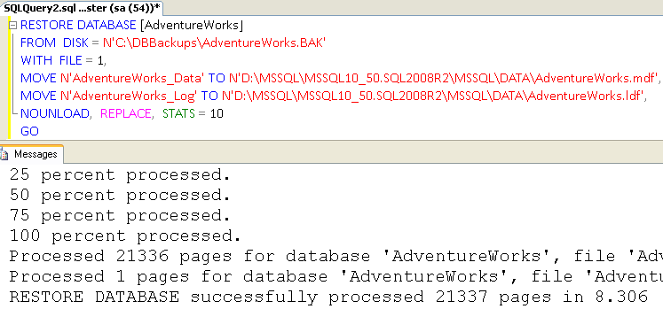 TSQL Script to Restore Database in SQL Server
