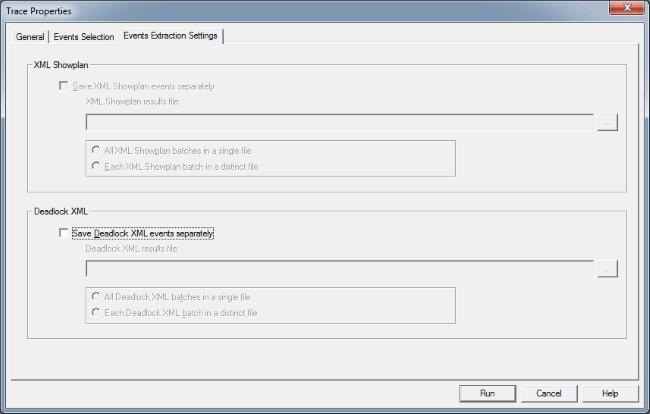 Save Deadlock XML and XML Showplan events in SQL Server Profiler