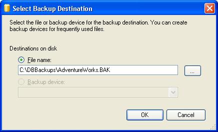 Select the Database Backup Destination in SSMS