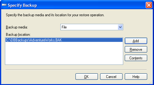 Specify Database Backup Location in SSMS