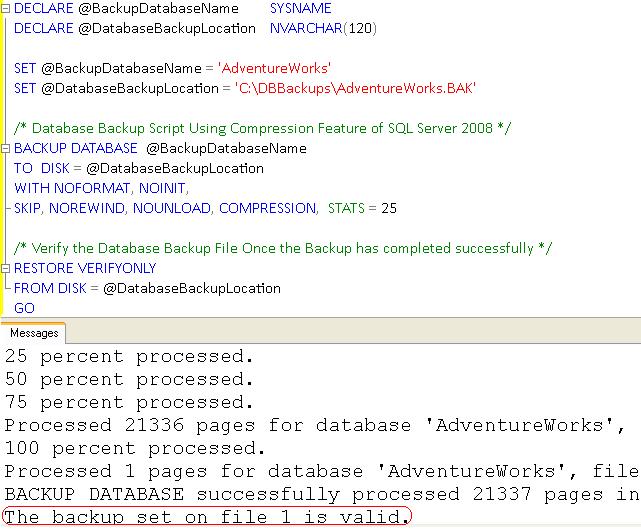 TSQL Script to Take Full Database Backup in SQL Server