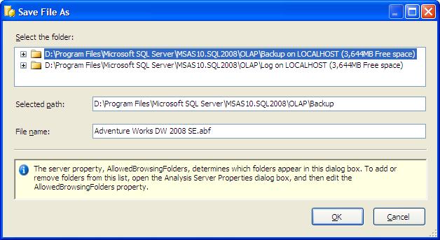 BackUp OLAP Database in SQL Server