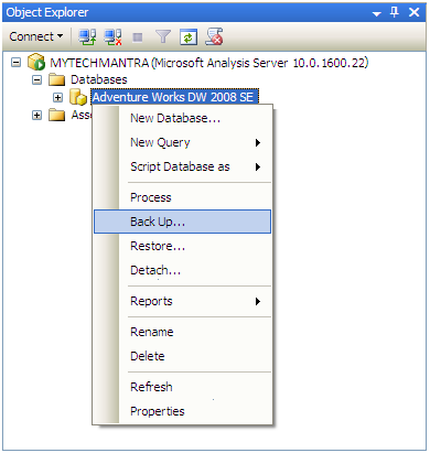 Backup Analysis Service Database in SQL Server Using SQL Server Management Studio