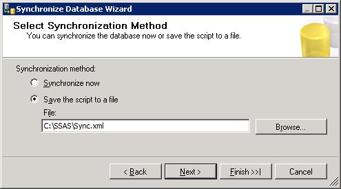 Gennerate XMLA Script for Synchronize SSAS Database