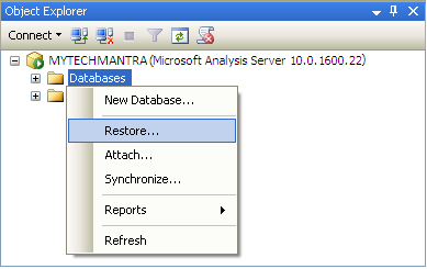 How to Restore Analysis Services Database in SQL Server Using SQL Server Management Studio