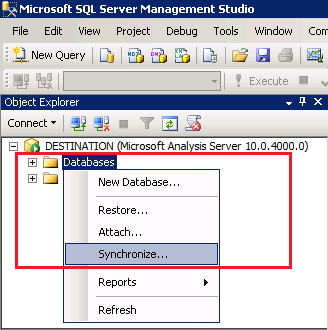 How to Synchronize Analysis Services Database in SQL Server