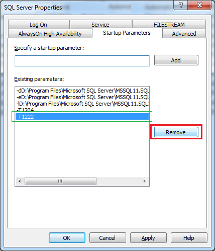 Remove an Existing Startup Parameter in SQL Server 2012