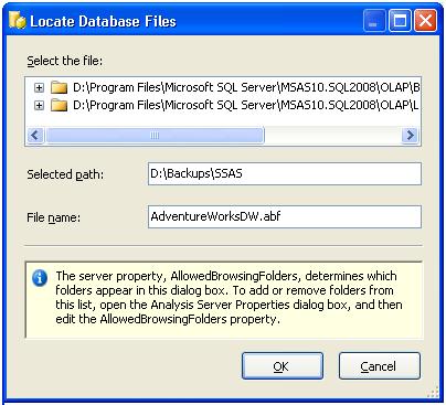 Restore SSAS Database in SQL Server