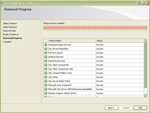 SQL Server 2008 Removal Progress Setup Screen Confirming the Features which are Uninstalled