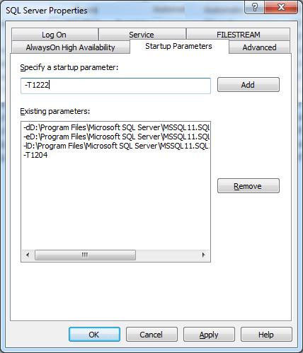 Startup Parameters in SQL Server 2012