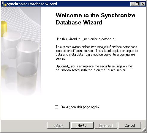 Synchronize Database Wizard to Synchronize Analysis Services Database