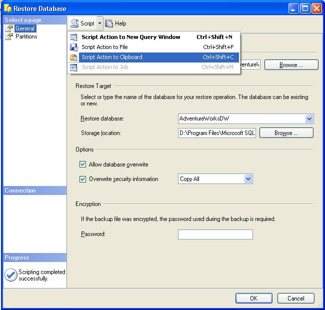XMLA Script to Restore an Analysis Services Database