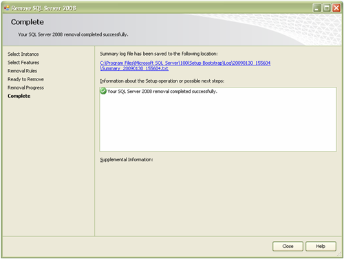 Your SQL Server 2008 removal completed successfully