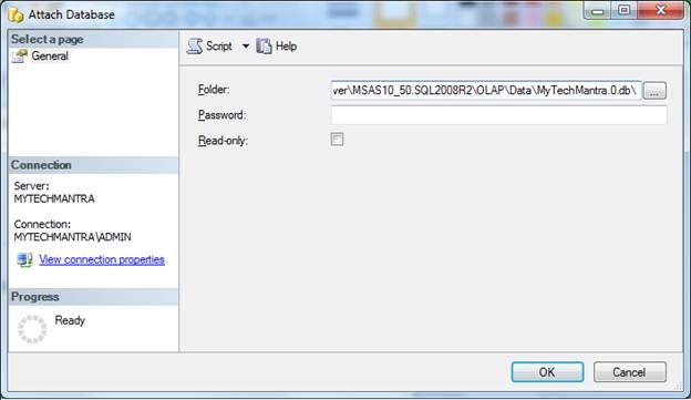 Attach SSAS Database Using SSMS