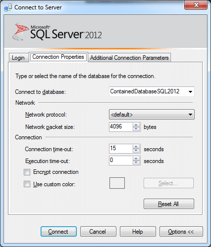 Connection Properties in SQL Server 2012