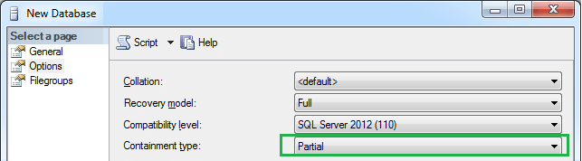 Creating Contained Database Using SSMS