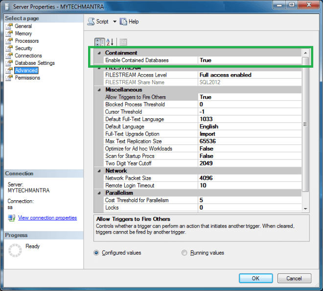 Enable Contained Databases Feature in SQL Server