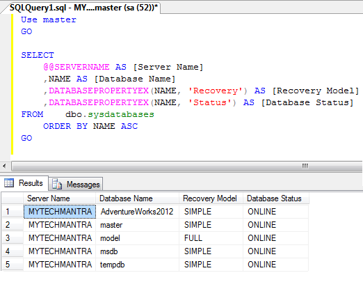 How to Identify Current State of SQL Server Database