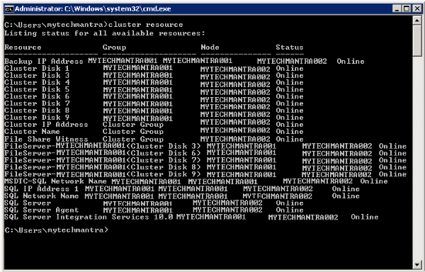 How to list all Cluster Resources of SQL Server Failover Cluster Using Command Line