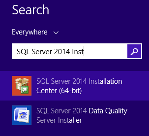 SQL Server 2014 Installation Center
